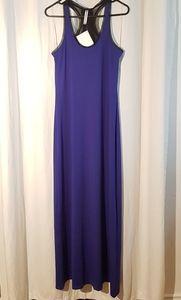 Fabletics blue mesh top maxi dress